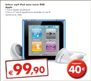 Sconto di 40 euro sul lettore mp4 Apple iPod nano