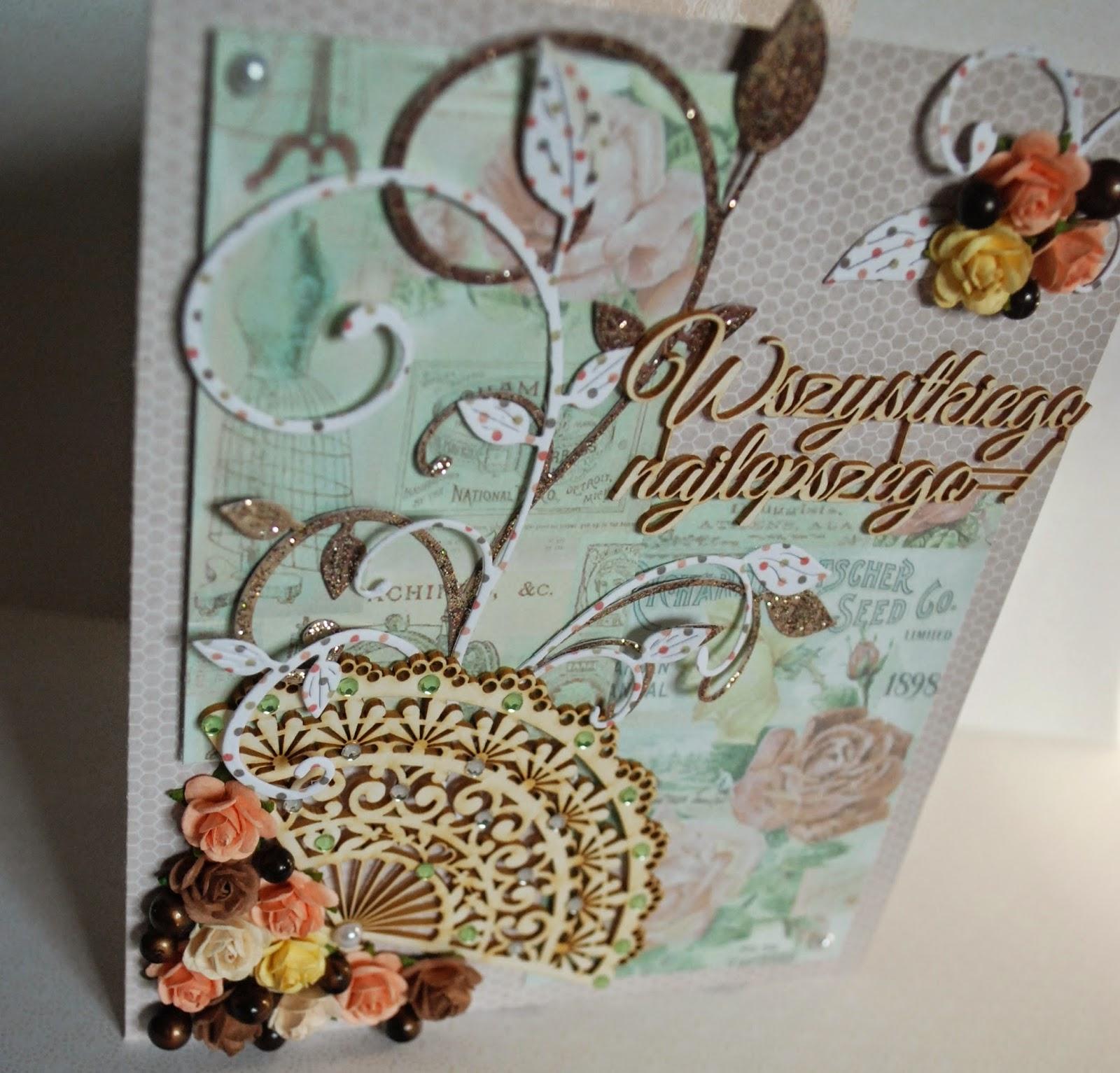 kartka urodzinowa , pastele, deliaktnie zdobiona