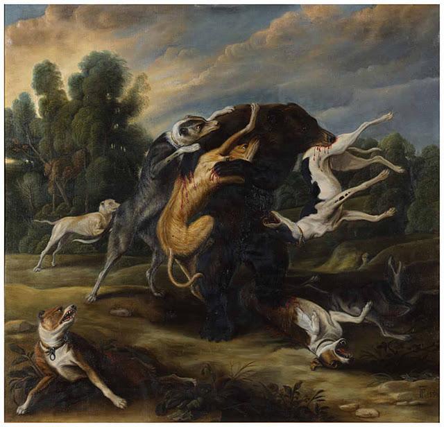 El arte y las pinturas del caudillo Francisco Franco. Perros luchan contra oso.