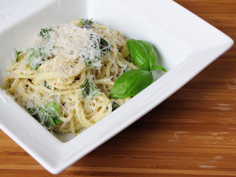 white bean & basil hummus pasta | Sweet Anna's