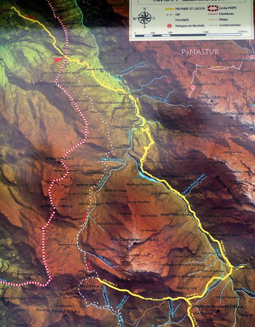 Mapa Ruta de la Jocica y Senda del Arcediano - Amieva - Asturias