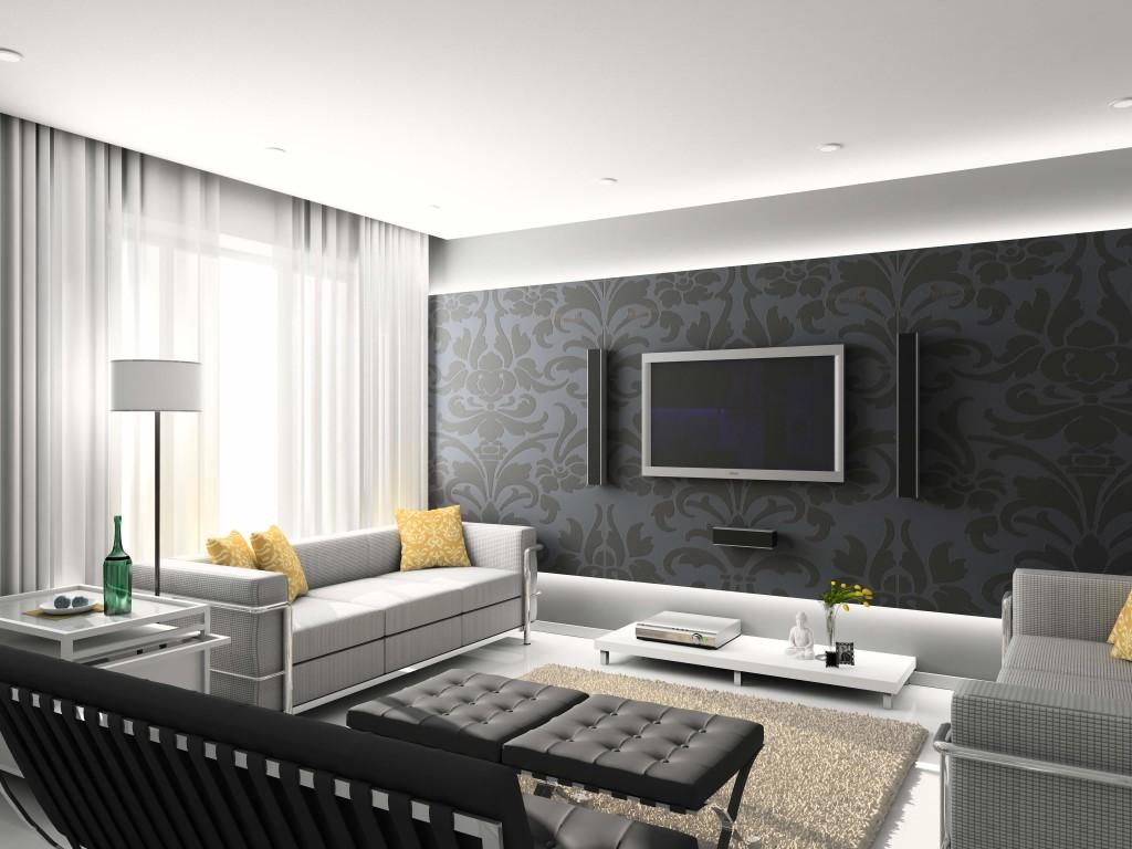 Decoração de sala com cortinas neutras