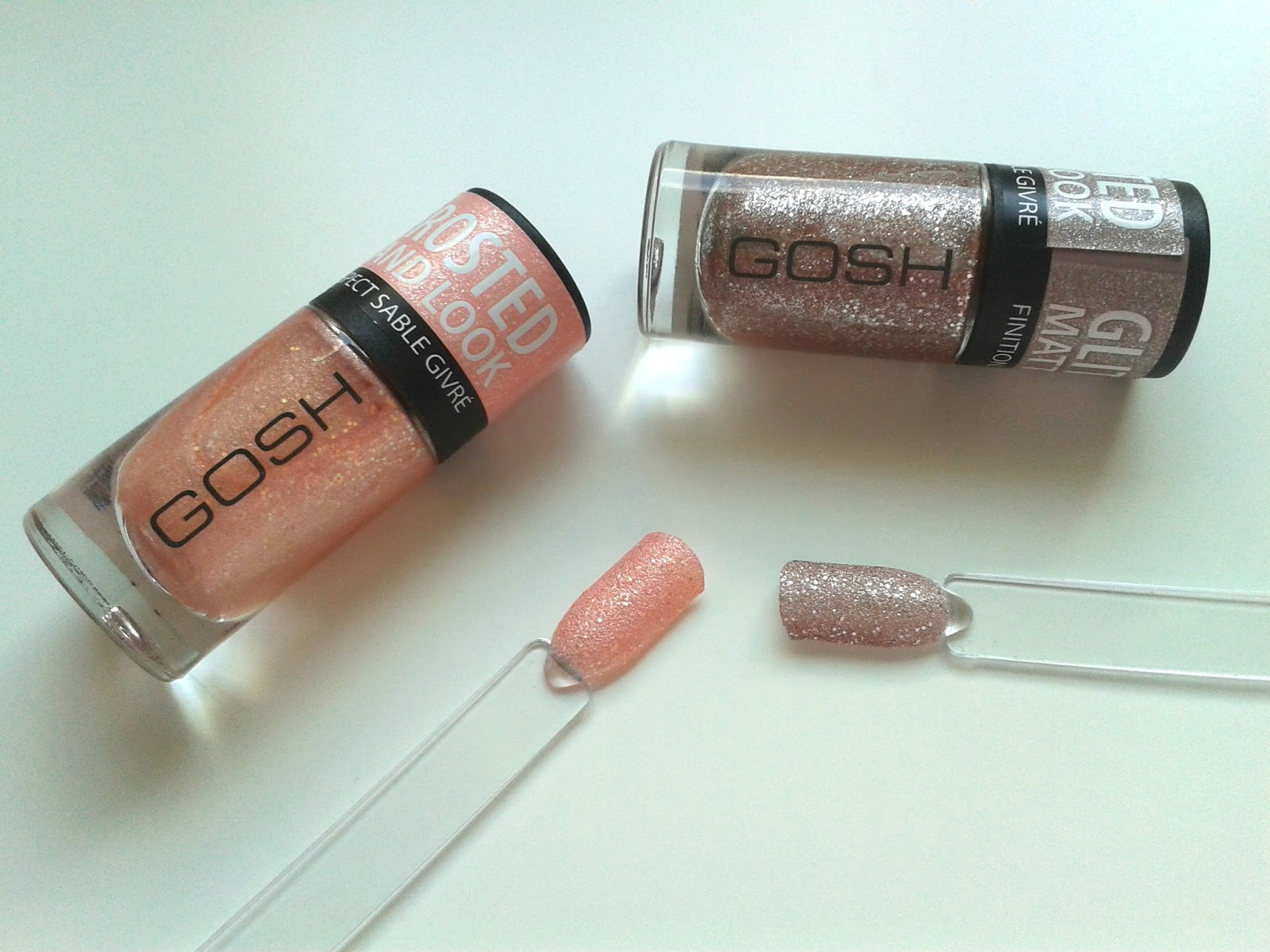 GOSH Frosted Sand Nail Lacquers Review Soft Coral Rose Swatch
