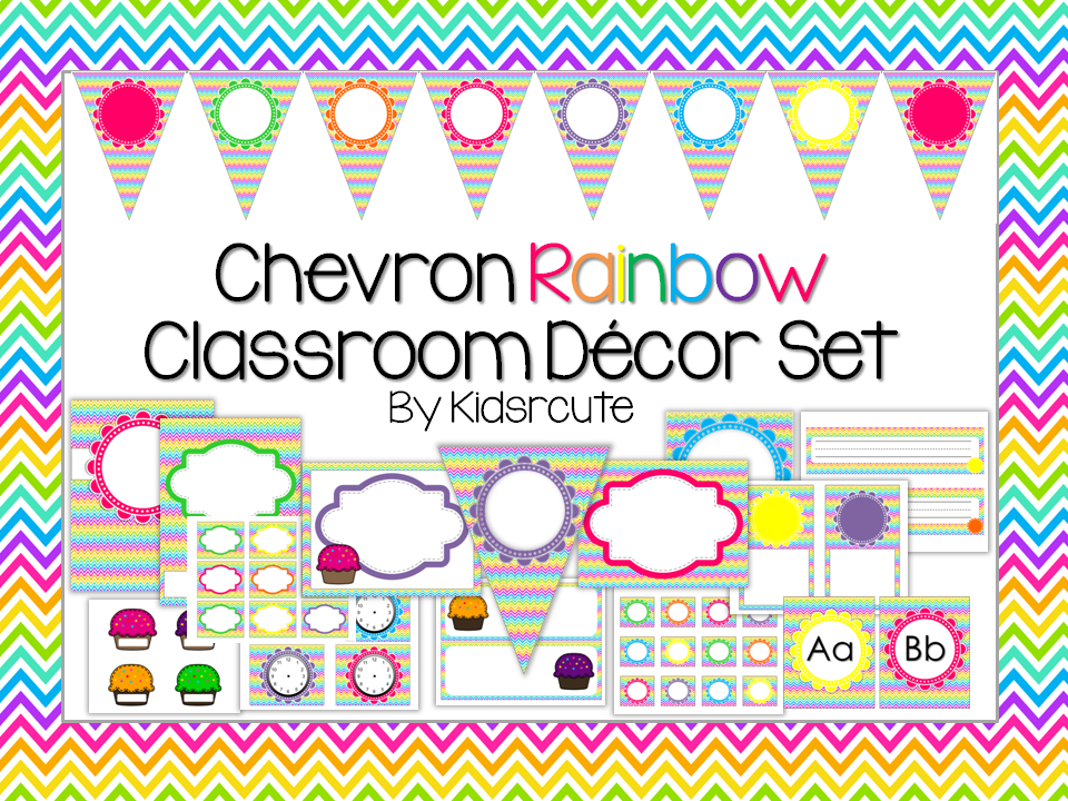 Classroom Decor Sets : Creative lesson cafe chevron classroom decor set monday