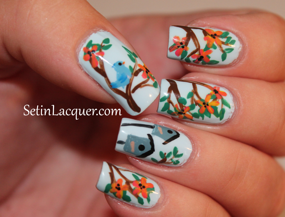 Floral Nail Art with birds and birdhouse
