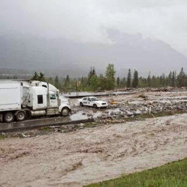 Moored on remnants of trans canada highway near canmore alberta