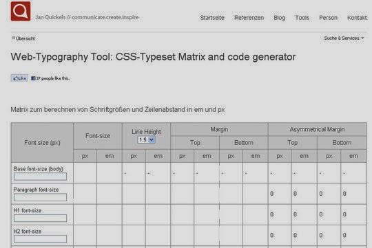 CSS-Typoset Matrix