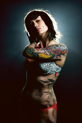 model with tribal tattoo
