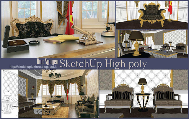 free sketchup model - vray setting - luxury room - cover