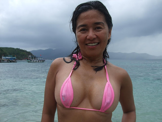 late middle aged chinese wife s disgusting silicon big boobs and