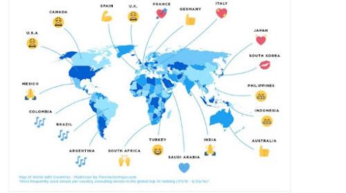 Na celebração do Dia Mundial do Emoji, Twitter publicou uma lista de países com tipos de Emoji mais usados