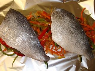 papillote pescado dorada verduras