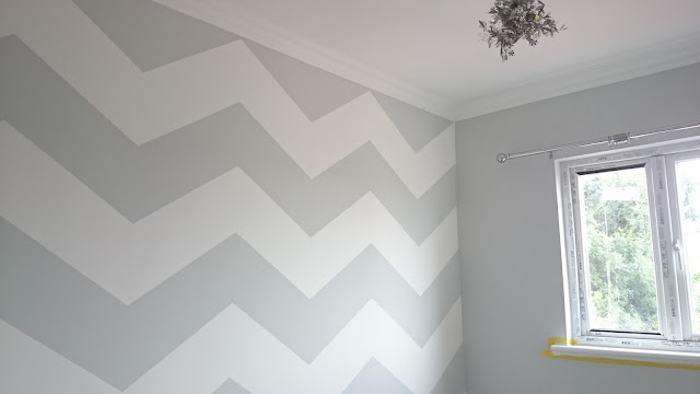 pinterest grey and white chevron wall nursery baby room wall paint zig-zag gender neutral