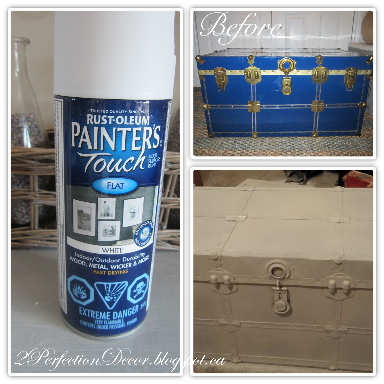 2perfection decor painted vintage trunk makeover. Black Bedroom Furniture Sets. Home Design Ideas