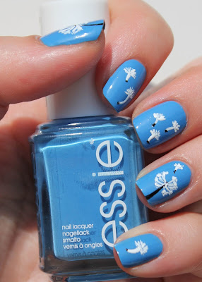 Dandelion nail art with Essie Avenue Maintain