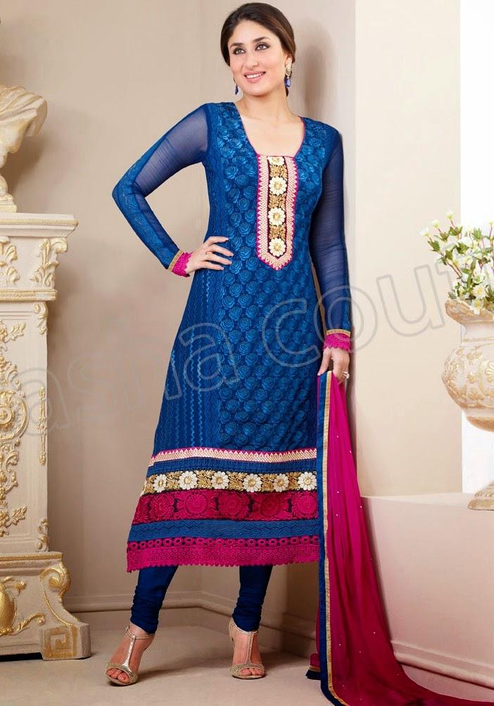 KareenaKapoorSemiGeorgetteSalwarSuits2014 15 wwwfashionhuntworldblogspotcom 010 - Kareena Kapoor Semi Georgette Salwar Suits 2014-2015