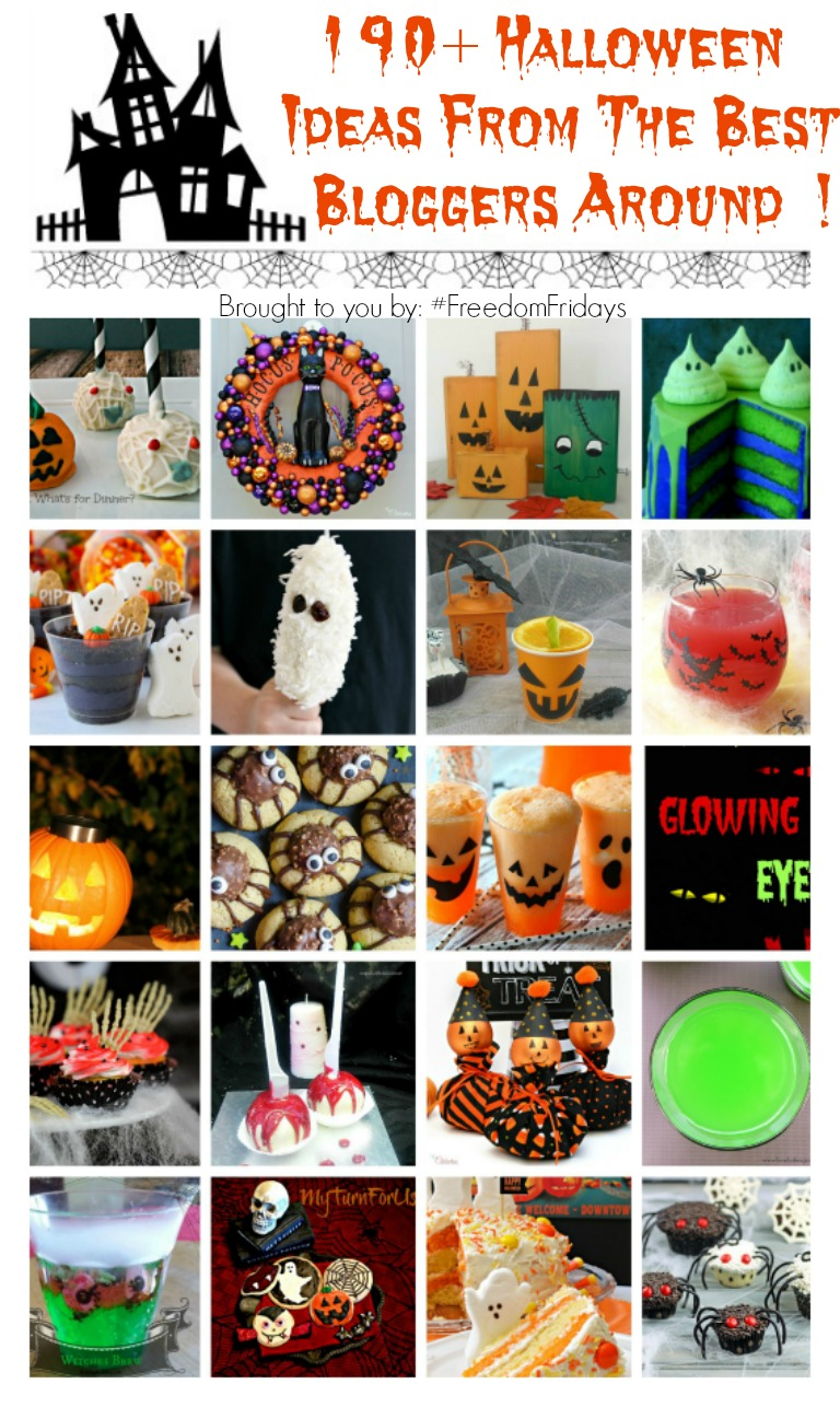 190+ Halloween Ideas ~ From the Best Bloggers Around !! From eats/treats to printables to decor ... it's all here in one place ! #Halloween #FreedomFridays www.WithABlast.net