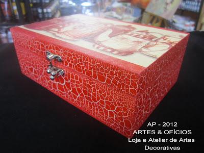 caixa de chá: craquelê e decoupage Renato+014