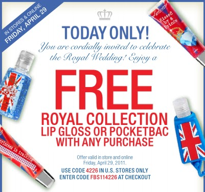 Bath & Body Works: Free Royal Collection Lip Gloss or Pocketbac