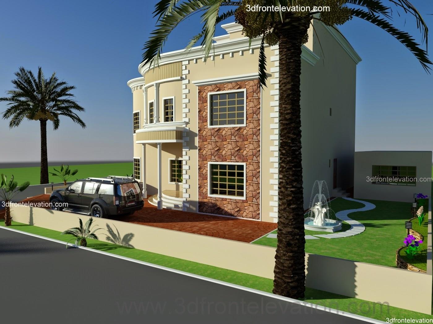 3d front oman new arabian villa plan design for Villa elevation design