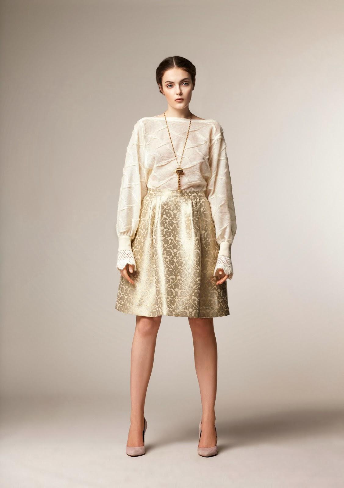 Gold shine on knee length modest skirt