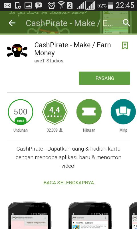Download CashPirate pada ponsel anda