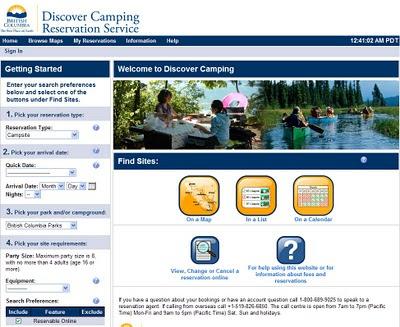 online reservation af motorhome campingplads i provinspark i british columbia i canada