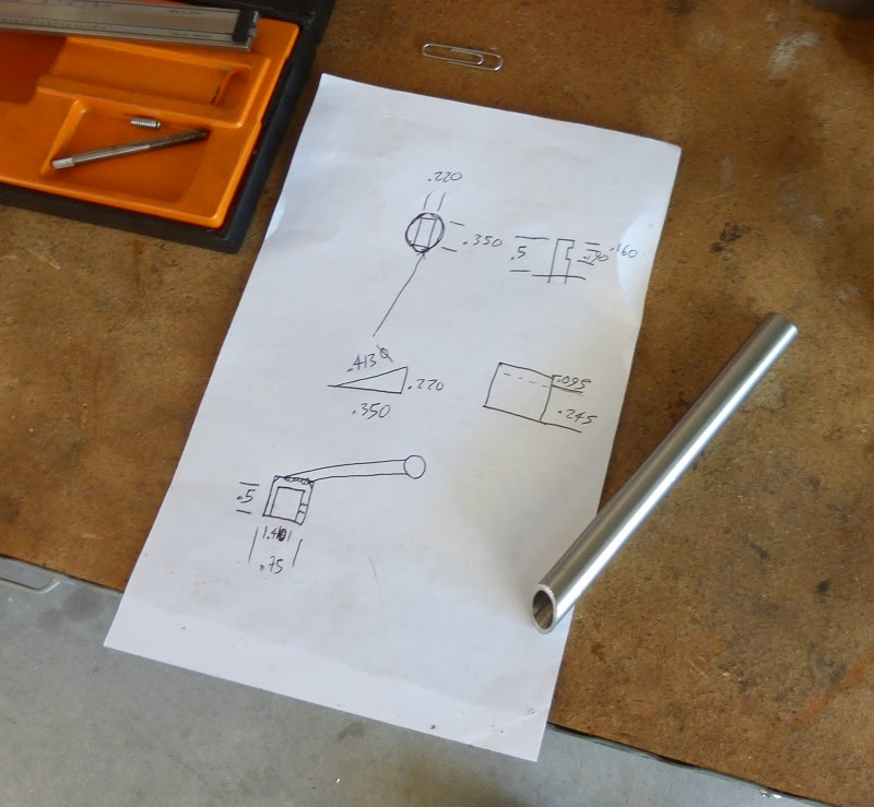 drawing up the design for the new handle