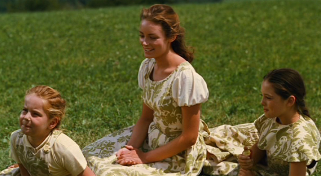 Sound of Music, musical, Liesl, curtain dress, clothes made out of curtains, doe ri me, do ri me, doe ray mee, dirndl, sitting in the grass, singing in the grass, the hills are alive
