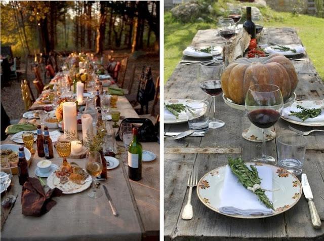 mesas al aire libre en otoño