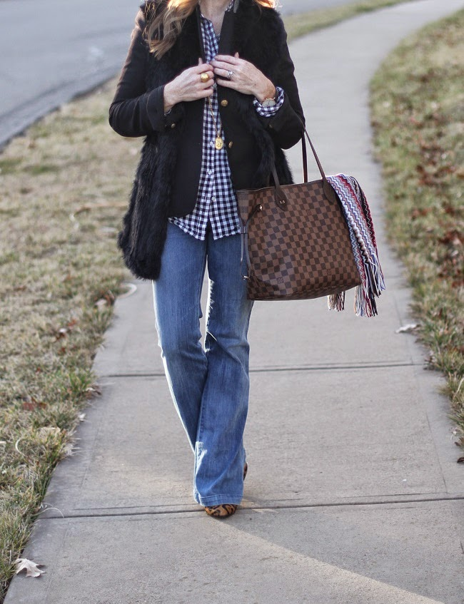 jcrew plaid shirt, jcrew boy blazer, love token fur vest, goldsign flare jeans, club monaco booties, louis vuitton handbag, missoni scarf, saint laurent sunglasses, julie vos coin necklace