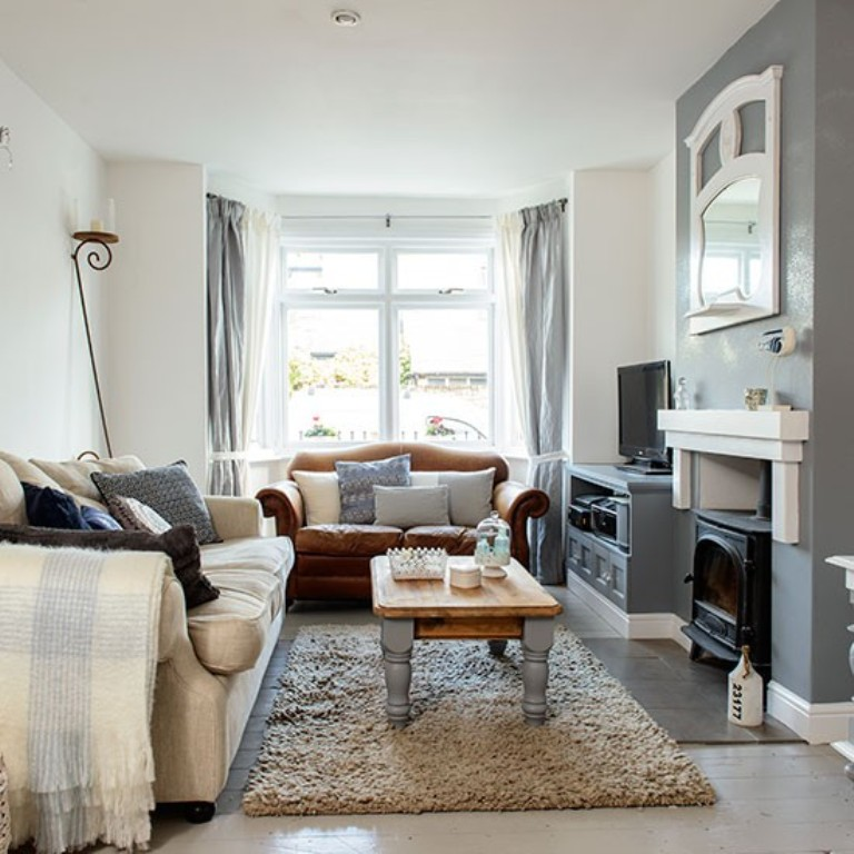 Blue Grey Living Room Design Of A