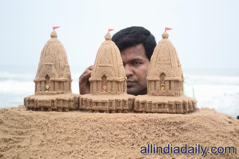 Sand art of a Temple in Odisha by Sudarsan Pattnaik