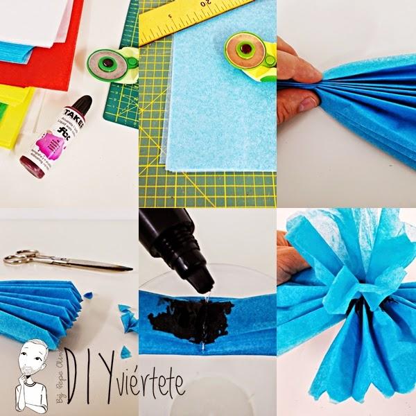 DIY-manualidades-ideas-decoración-pompón-papel de seda-cumpleaños-fiestas-regalos-flores- (1)