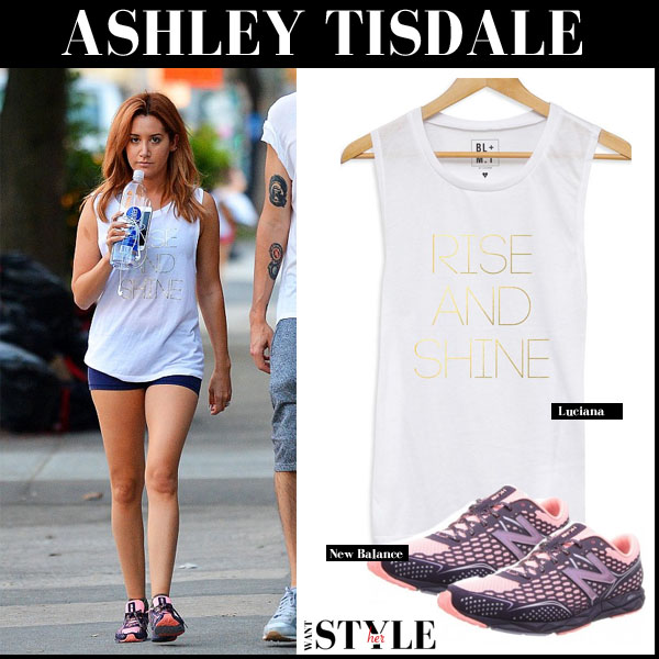 Ashley Tisdale in white print tank, blue shorts and pink new balance sneakers workout style