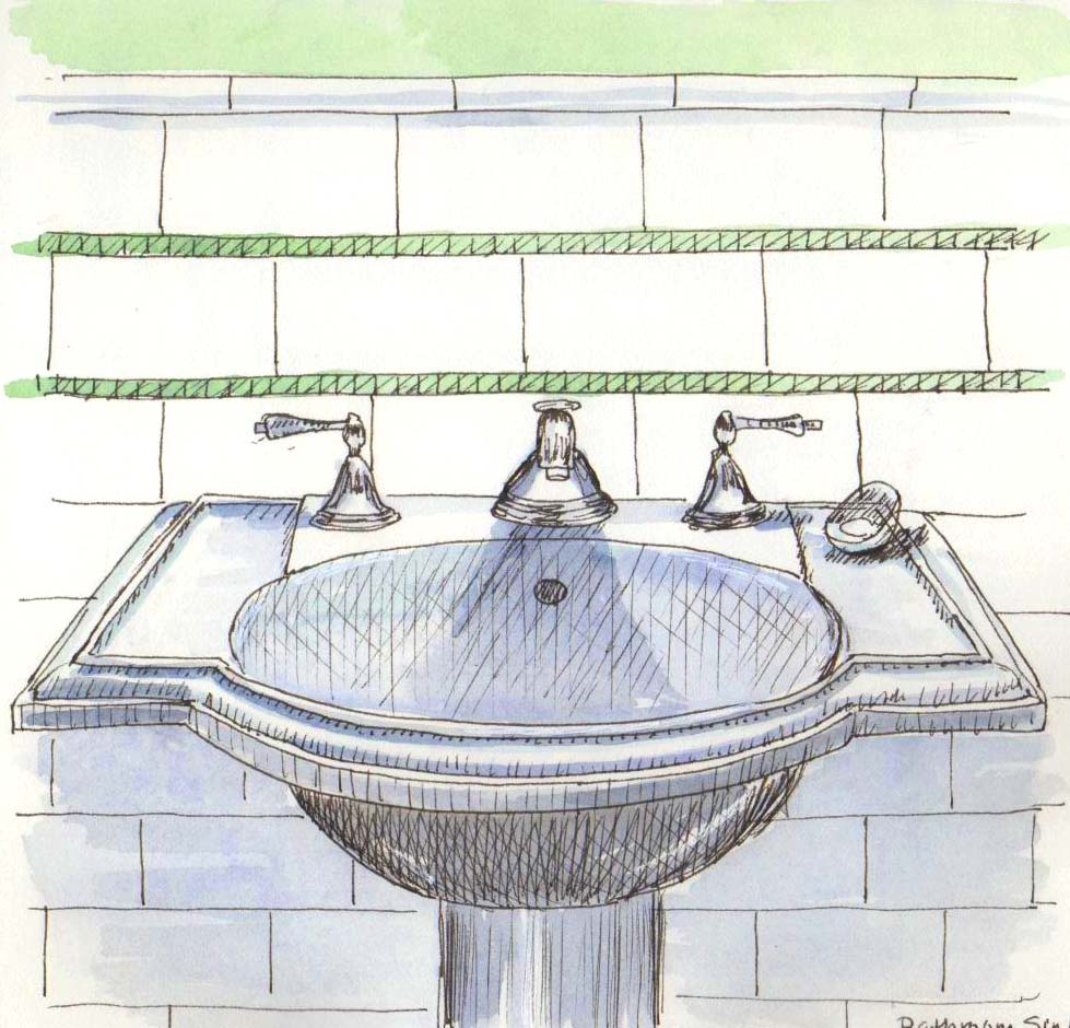 Bathroom sink drawing - It S January It S Raining And I Look Around The House Without Much Inspiration I Drew The Bathroom Sink