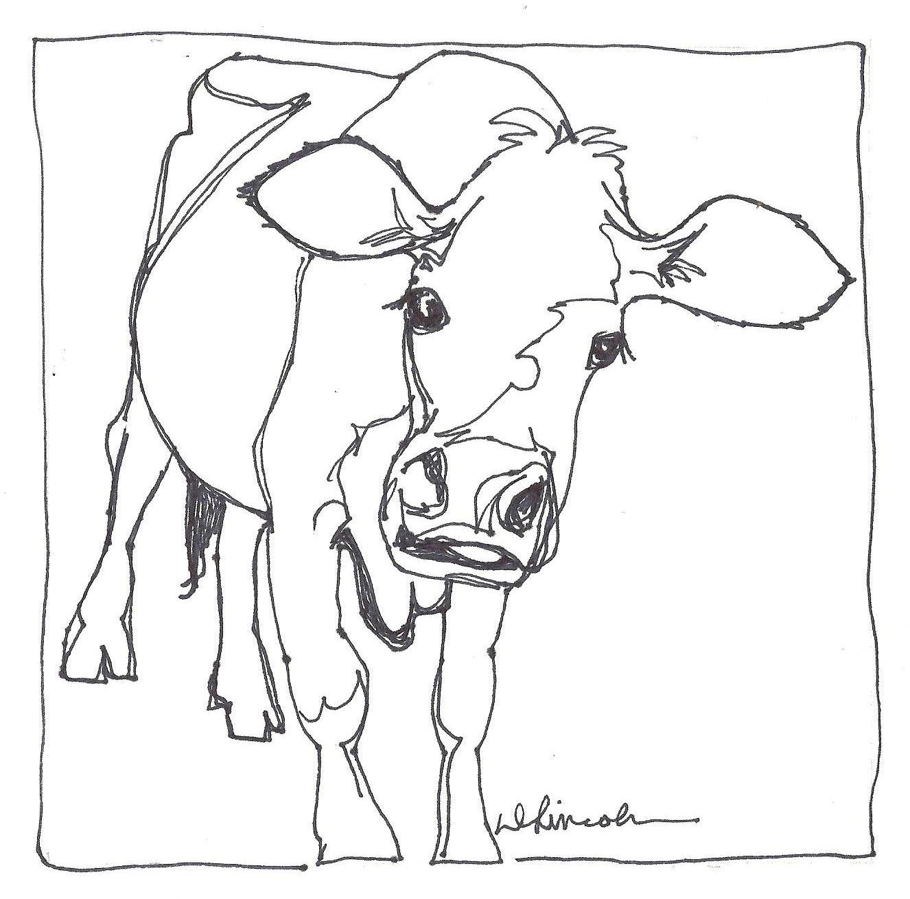 Continuous Line Drawing Of Animals : Now or never aunt abbey the black jersey cow continuous