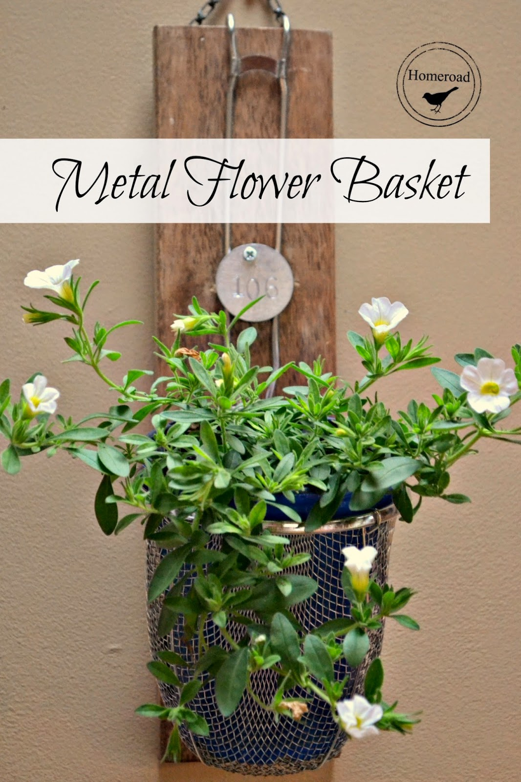 repurposed metal flower basket www.homeroad.net