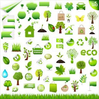 Símbolos e íconos bio ecológicos