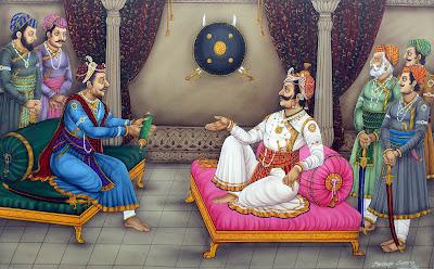 Bhagwantdas the ruler of Amer in Gogunda, handing over the message of Akbar to Pratap