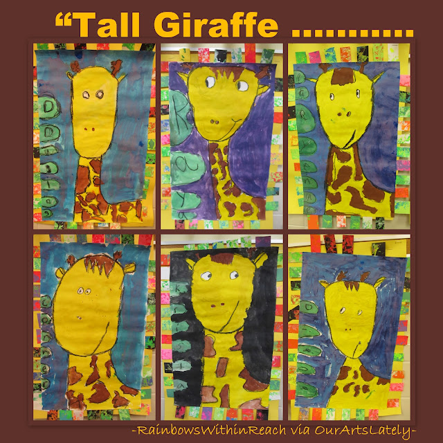 photo of: Giraffe bulletin board, Art project for jungle theme, Tall giraffe paintings