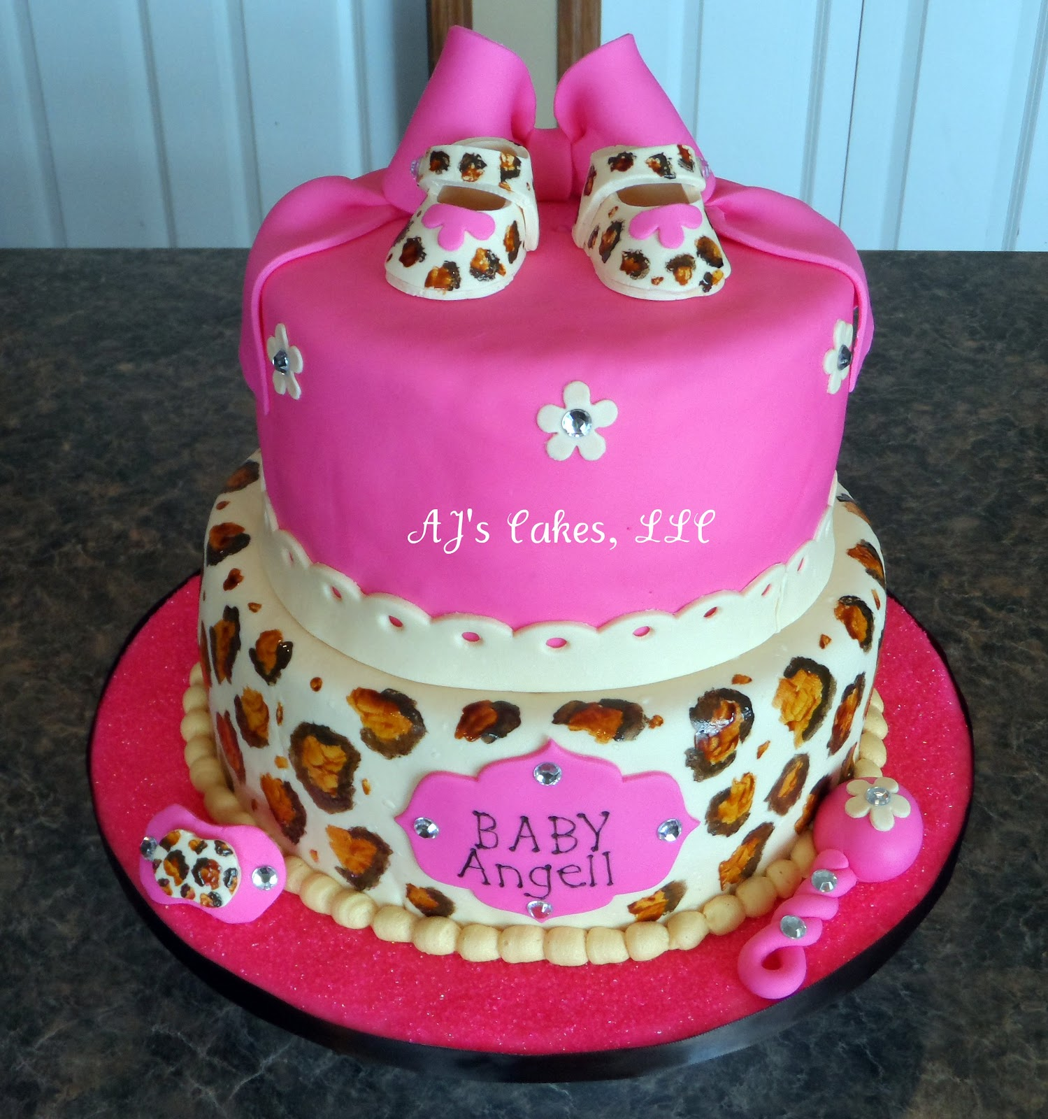 aj 39 s cakes pink cheetah baby shower cake