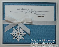 Holiday card made using Stampin'UP!'s Northern Frost Die and the Snowburst Embossing Folder. Card made by StampLadyKatie