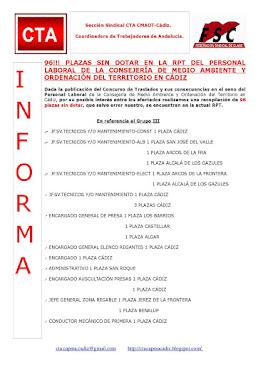 96!!! PLAZAS SIN DOTAR EN LA RPT DEL PERSONAL LABORAL DE LA CONSEJERÍA DE MEDIO AMBIENTE Y ORDENACI
