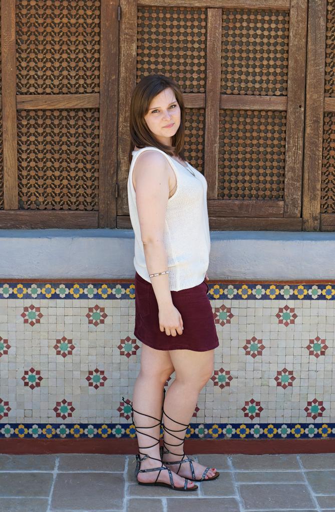OOTD velvet skirt summer outfit