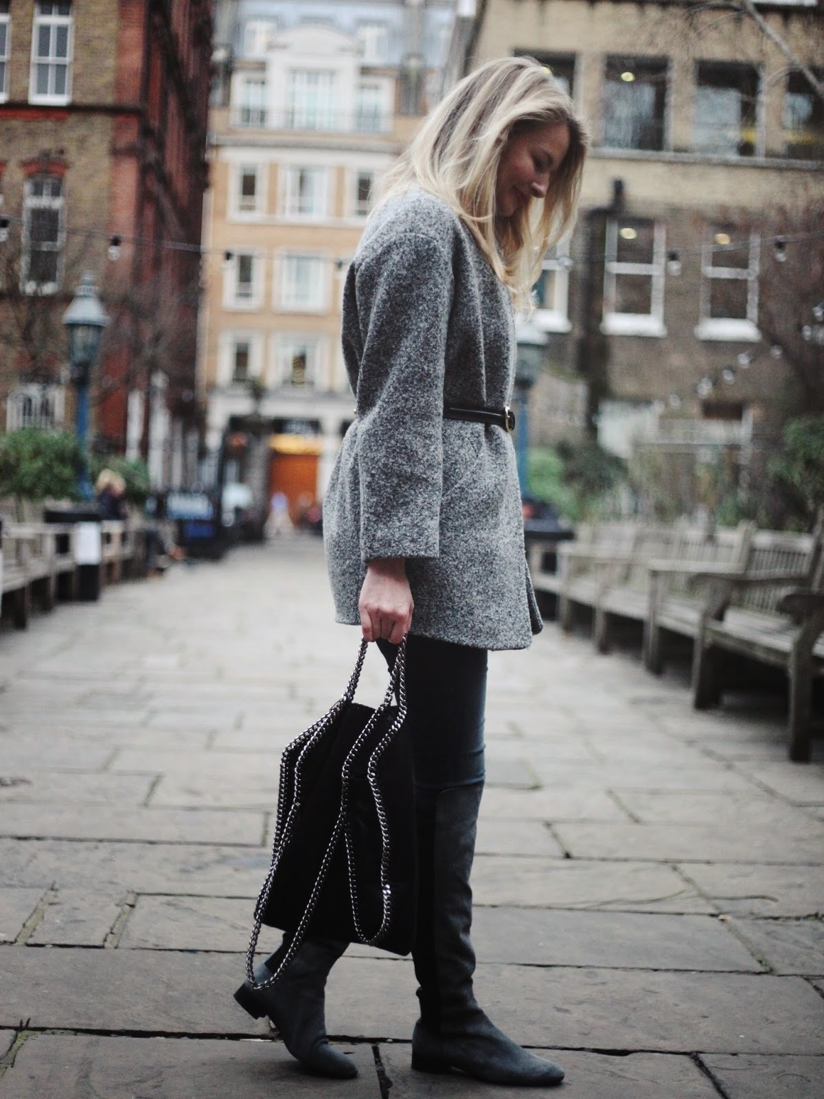 black stelle mccartney falabella bag, iro candie coat, grey over the knee boots, overknee boots grey, iro coat, grey iro coat, belted coat, street style london, london blogger