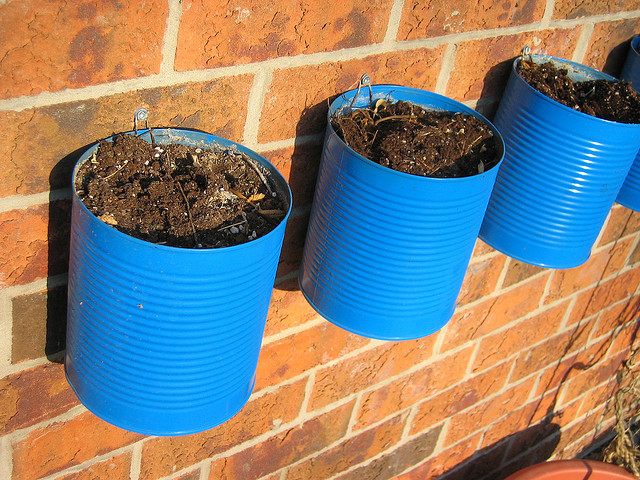 Jardim vertical feito com latas de molho de tomate