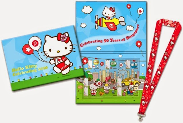 sg50 hello kitty mystamp folder lanyard set