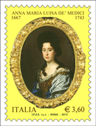 Italy: Issue of a stamp commemorating Anna Maria Luisa dè Medici on the 270th anniversary of her death