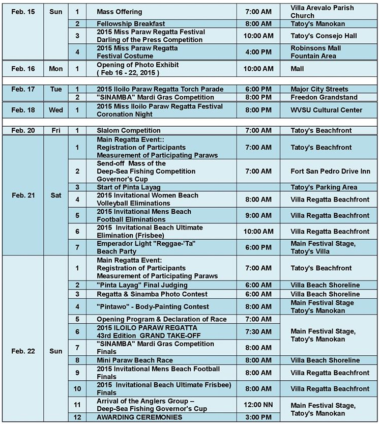 Iloilo Paraw Regatta 2015 Schedule of Activities